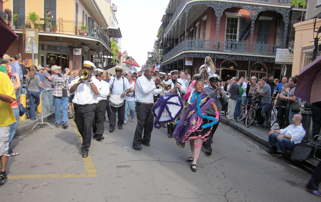 New Orleans second line jazz band fun in new orleans